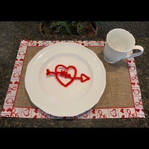 Valentines Day Red White Heart Placemats Set OF 2